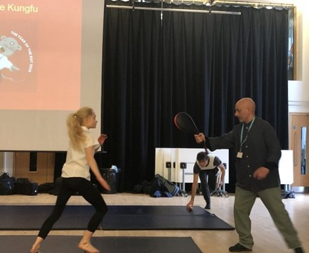 St mary magdalene academy smma islington london students give a demonstration of martial arts in assemblies for chinese new year 2020