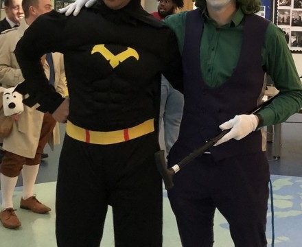 St Mary Magdalene Academy Islington, Staff Dress As Book Characters for World Book Day 2020, Batman and Joker