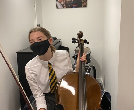St Mary Magdalene Academy Secondary School & Sixth FOrm Islington, Music student enjoying some practice time in the new individual practice rooms