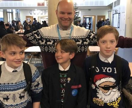 Christmas Sweater Day, year 7 students, St Mary Magdalene Academy, Islington