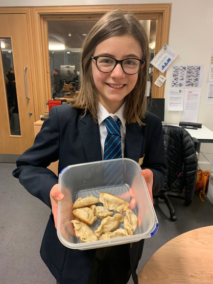 Year 7 Student Maya With Home-made Dumplings, Chinese New Year 2019