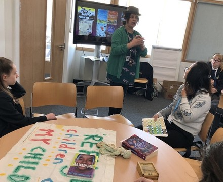 Author Sita Brahmachari with students in workshop at St Mary Magdalene Academy Islington, World Book Day 2019