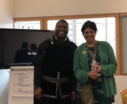 St Mary Magdalene Academy Islington, Sherriff of Nottingham with Author Sita Brahmachari for World Book Day 2019