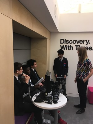 St mary magdalene academy business studies students working on a marketing campaign with three uk