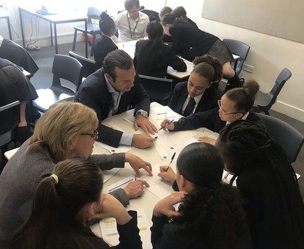 St mary magdalene academy islington year 7 students in team exercises at a careers workshop