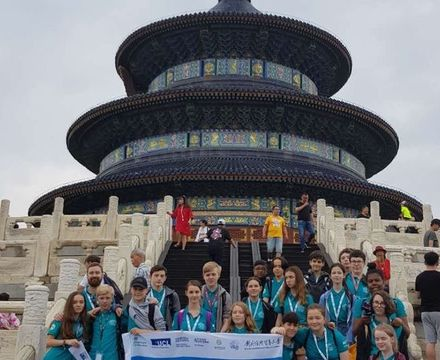St mary magdalene academy secondary school islington mandarin students trip to china july 2019 beijing temple steps