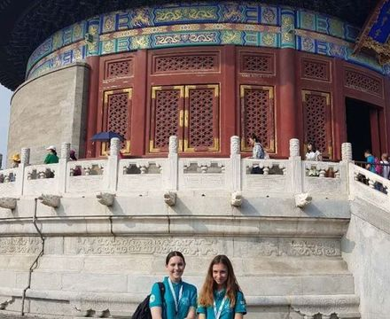 St mary magdalene academy secondary school islington mandarin students trip to china july 2019 in front of temple