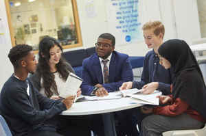 Islington sixth form students from st mary magdalene academy london chat with deputy headteacher