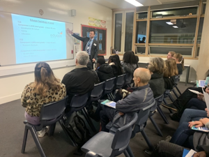 Heads of department lead talks about a level courses at sixth form open evening st mary magdalene academy islington london exploring a level courses and subjects