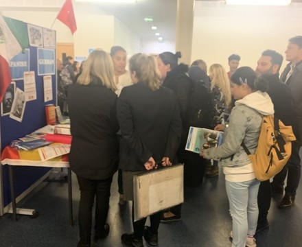 Sixth form open evening st mary magdalene academy islington london exhibition stalls exploring a level courses and subjects